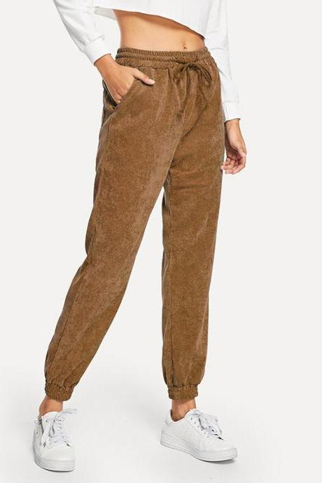 Women Corduroy Pants Autumn Harajuku Drawstrimg High Waist Casual Cropped Trousers brown