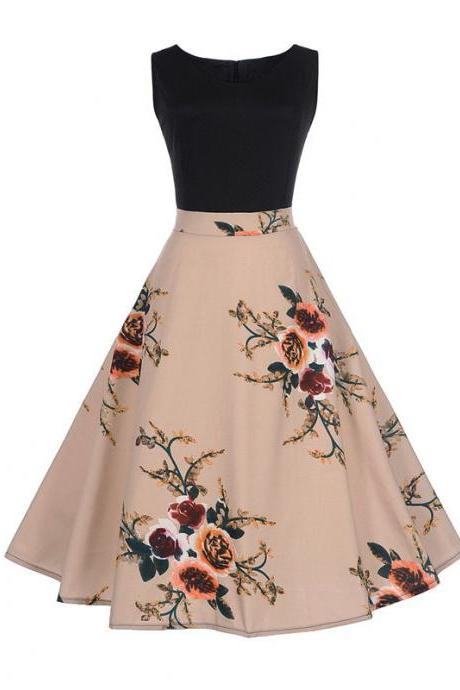 Women Floral Printed Dress Summer Casual Patchwork Sleeveless Rockbility A-Line Formal Party Dress 1#