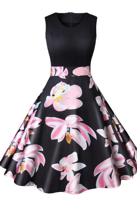 Women Floral Printed Dress Summer Casual Patchwork Sleeveless Rockbility A-Line Formal Party Dress4#