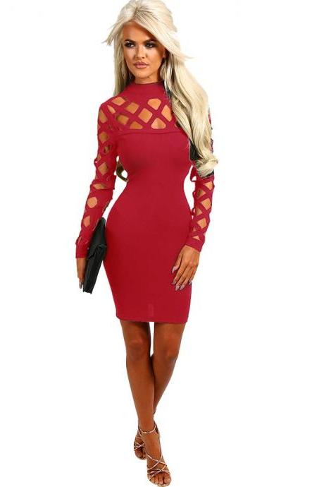 Women Bandage Dress Long Sleeve Hollow Out Bodycon Mini Club Pencil Party Dress red