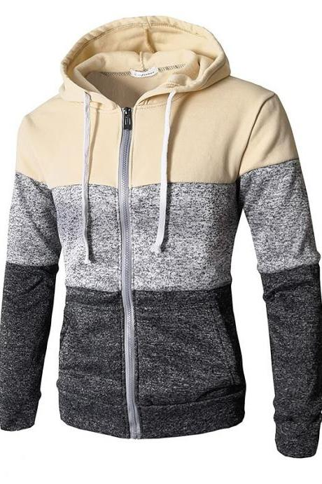 Mens Hoodies Patchwork Color Long Sleeve Hooded Zipper Casual Slim Cardigan Sweatshirt beige