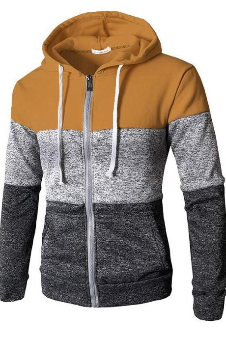 Mes Hoodies Patchwork Color Long Sleeve Hooded Zipper Casual Slim Cardigan Sweatshirt camel