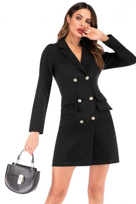Women Blazer Dress V Neck Casual Double-Breasted Slim Formal Long Sleeves Suit Coat Dress black