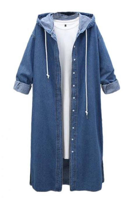 Women Denim Trench Coat Hooded Casual Long Sleeve Plus Size Jacket Outerwear dark blue