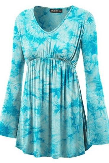 Women Floral Printed Tunic Tops Spring Autumn Flare Sleeve V-Neck Casual Plus Size T Shirt aqua
