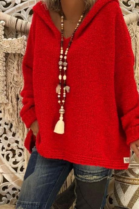 Women Hooded Sweater Autumn Winter Long Sleeve Loose Causal Knitted Jumper Pullover Tops red