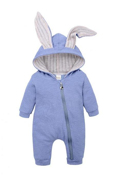 Baby Boys Girls Jumpsuit Long Sleeve Big Ears Bunny Infant Hooded Rompers Kids Clothes sky blue
