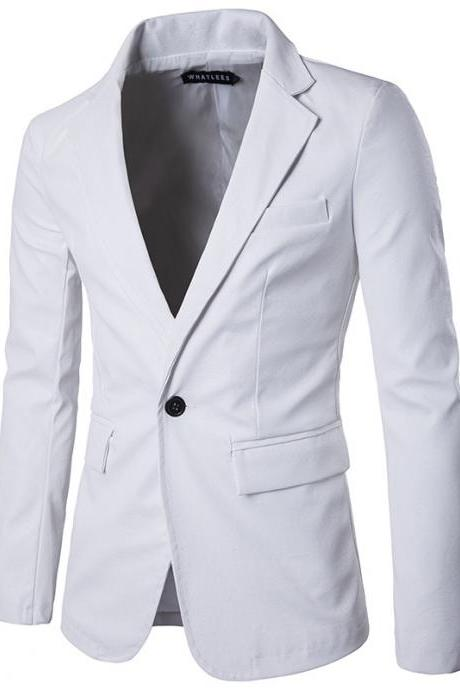 Men Blazer Jacket PU Leather Slim Fit One Button Long Sleeve Casual Business Suit Coat off white