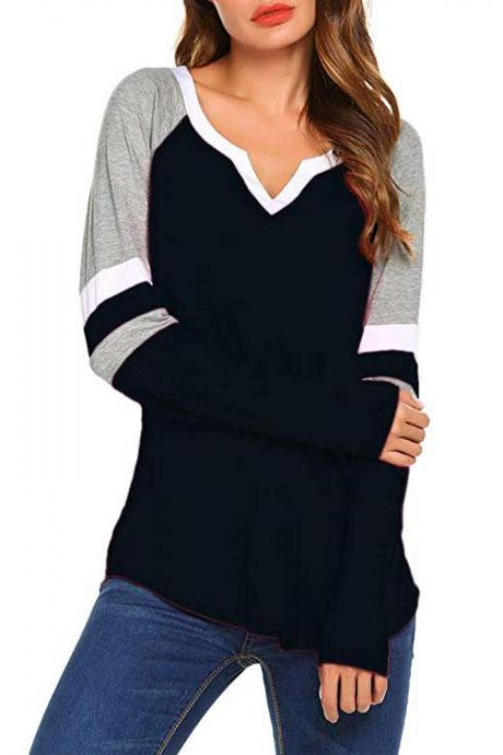 Women Long Sleeve T Shirt Spring Autumn V-Neck Striped Patchwork Casual Slim Plus Size Tops black