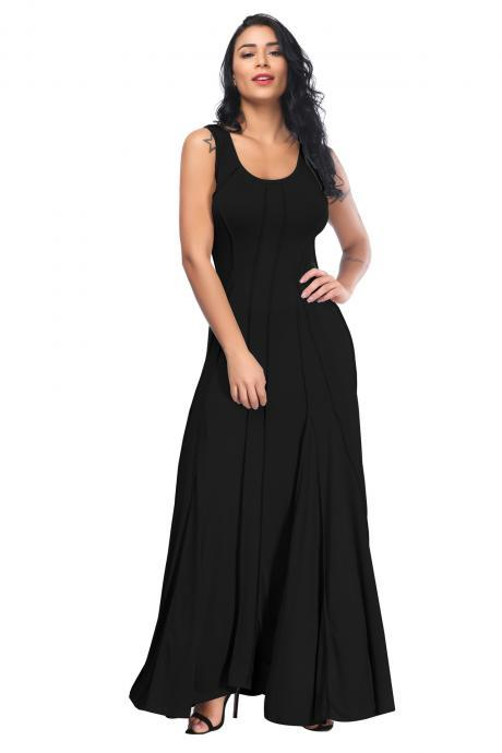 Women Maxi Dress Slim Causal Floor Length Summer Beach Sleeveless Long Dress black