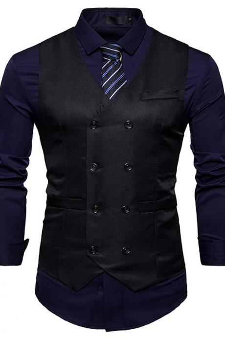Men Suit Waistcoat Double Breasted Slim Fit Vest Wedding Business Casual Sleeveless Coat black