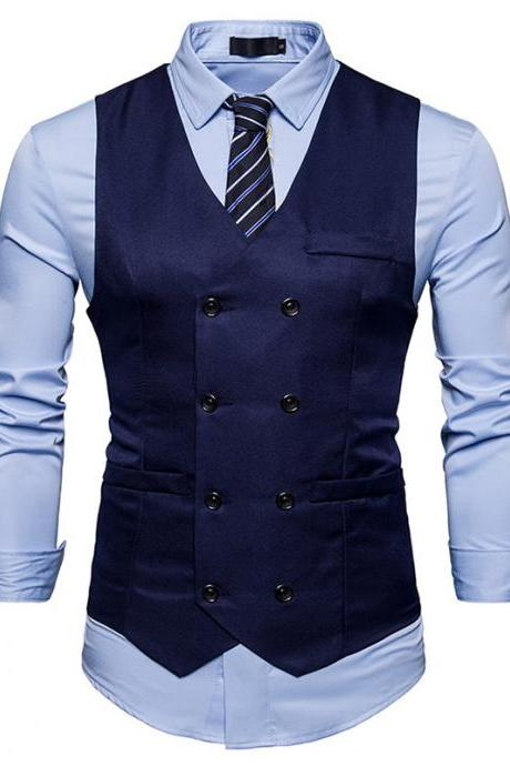 Men Suit Waistcoat Double Breasted Slim Fit Vest Wedding Business Casual Sleeveless Coat navy blue