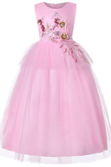 Long Flower Girl Dress Sleeveless Formal Birthday Perform Princess Teens Party Gown Children Clothes pink