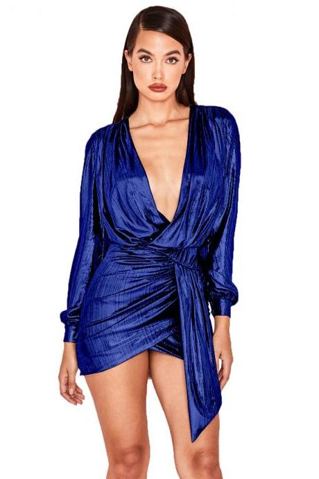 Women Metallic Asymmetrical Wrap Dress V Neck Long Sleeve Bodycon Mini Club Party Dress royal blue