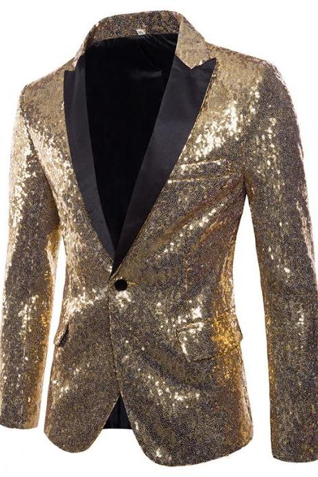 Men Sequined Blazer Coat Stage Performer Formal Host Suit Bridegroom Tuxedos Prom Wedding Groom Jacket gold