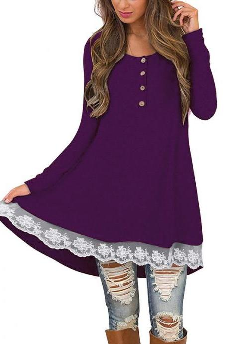 Women Casual Dress Autumn Button Long Sleeve Lace Patchwork Loose Mini Dress purple