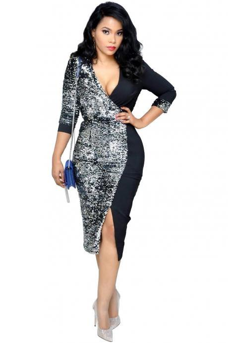 Women Pencil Dress Sequined Patchwork V Neck Long Sleeve Casual Office Bodycon Club Party Dress black