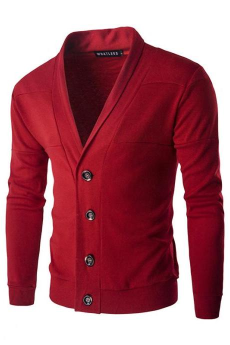Men Cardigan Spring Autumn Single Breasted Long Sleeve Slim Fit Casual Sweater Coat red