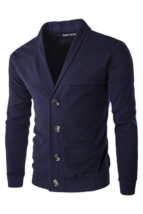 Men Cardigan Spring Autumn Single Breasted Long Sleeve Slim Fit Casual Sweater Coat navy blue