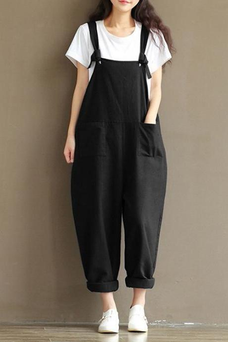 Women Suspender Pants Plus Size Casual Loose Cotton Trousers Long Overalls Rompers black