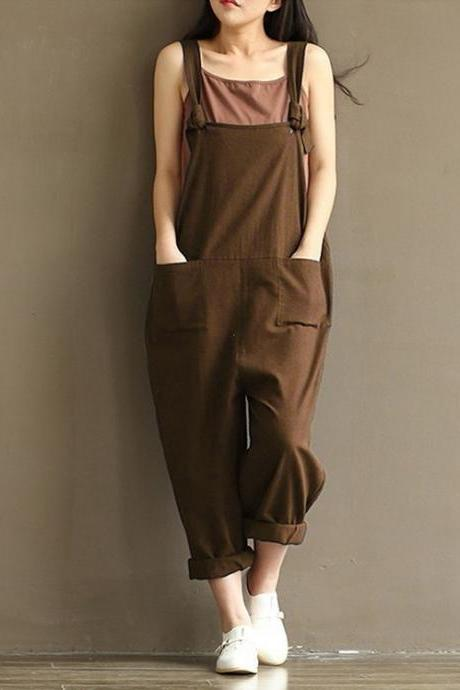 Women Suspender Pants Plus Size Casual Loose Cotton Trousers Long Overalls Rompers coffee