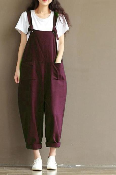 Women Suspender Pants Plus Size Casual Loose Cotton Trousers Long Overalls Rompers dark red