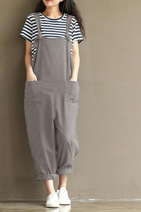 Women Suspender Pants Plus Size Casual Loose Cotton Trousers Long Overalls Rompers gray