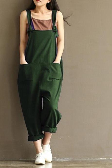 Women Suspender Pants Plus Size Casual Loose Cotton Trousers Long Overalls Rompers green