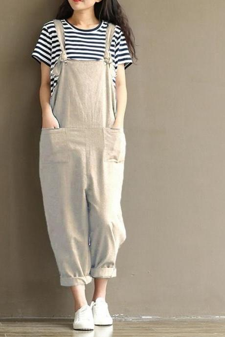 Women Suspender Pants Plus Size Casual Loose Cotton Trousers Long Overalls Rompers light khaki