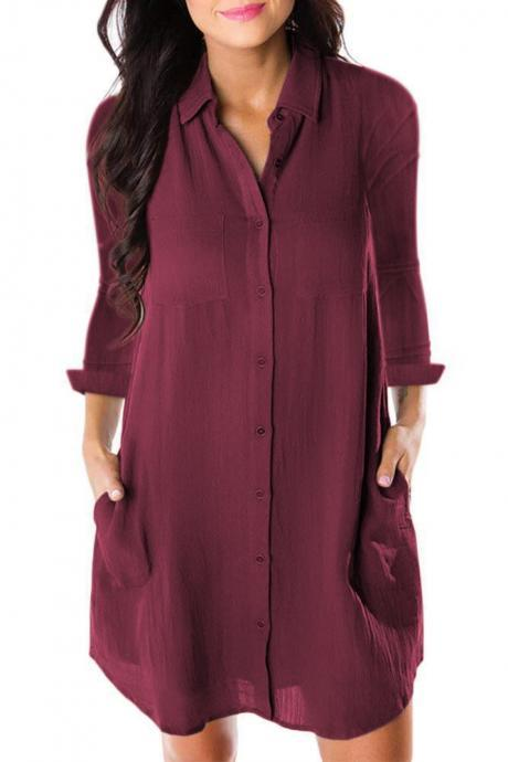 Women Shirt Dress Autumn Spring Long Sleeve Pockets Buttons Loose Mini Casual Dress wine red