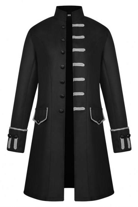 Men Uniform Trench Coat Vintage Steampunk Punk Middle Ages Long Sleeve Jacket Outwear black