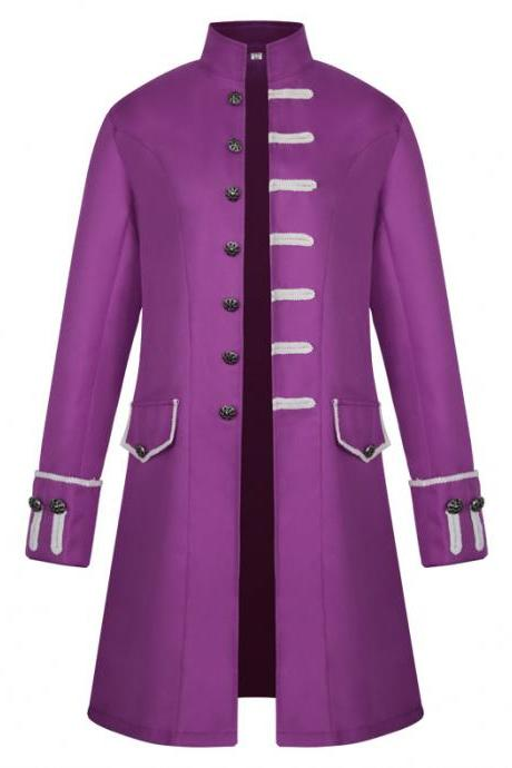 Men Uniform Trench Coat Vintage Steampunk Punk Middle Ages Long Sleeve Jacket Outwear purple
