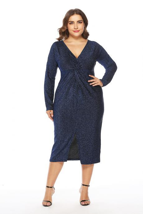 Plus Size Women Pencil Dress Long Sleeve V Neck Split Casual Bodycon Club Party Dress blue