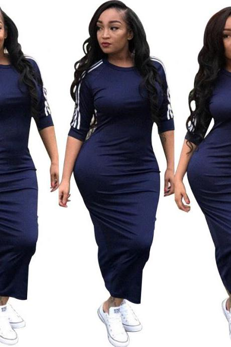 Women Maxi Dress Half Sleeve Striped Patchwork Casual Streetwear Bodycon Long Dress navy blue