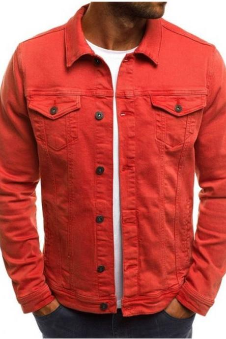 Men Jacket Spring Autumn Long Sleeve Button Pocket Causal Slim Fit Coat red