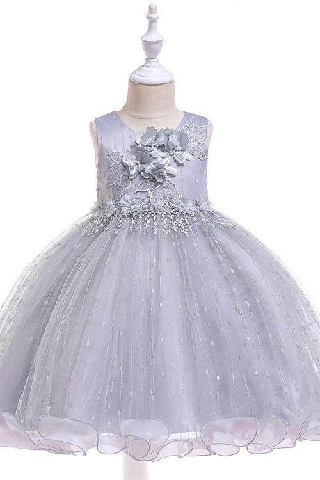 Princess Flower Girl Dress Ruffles Sleeveless Formal Birthday Party Prom Gown Children Clothes gray