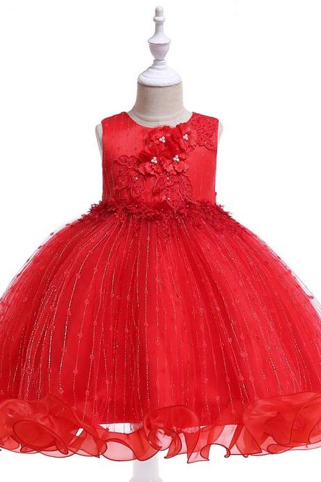 Princess Flower Girl Dress Ruffles Sleeveless Formal Birthday Party Prom Gown Children Clothes red