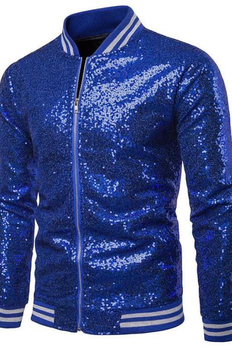 Men Sequined Jacket Glitter Long Sleeve Zipper Stand Collar Casual Nightclub Prom Stage Coat