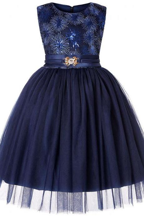 Sequined Flower Girl Dress Sleeveless Formal Birthday Perform Party Gown Children Clothes navy blue