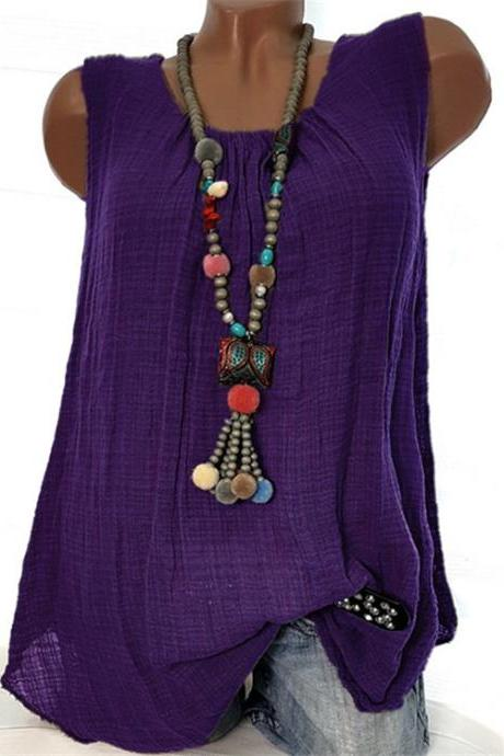 Women Sleeveless T Shirt O Neck Cotton Linen Casual Loose Plus Size Summer Vest Tops purple
