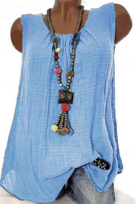 Women Sleeveless T Shirt O Neck Cotton Linen Casual Loose Plus Size Summer Vest Tops sky blue