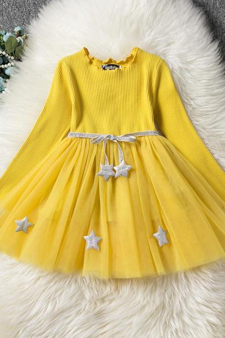 Long Sleeve Girl Dress Spring Autumn Tulle Star Pattern Princess Tutu Dress Kids Clothes pink