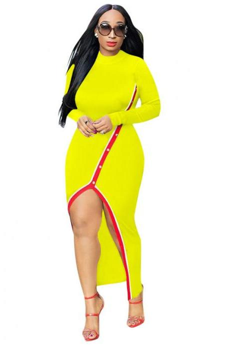 Women Maxi Dress Long Sleeve Sexy Pearls Split Casual Bodycon Night Club Party Dress yellow