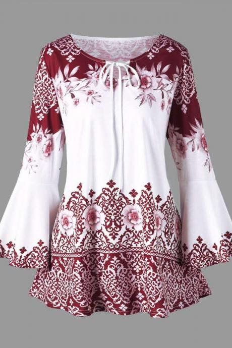 Women Floral Printed T Shirt Spring Autumn Long Flare Sleeve Casual Loose Plus Size Tops Blouse red