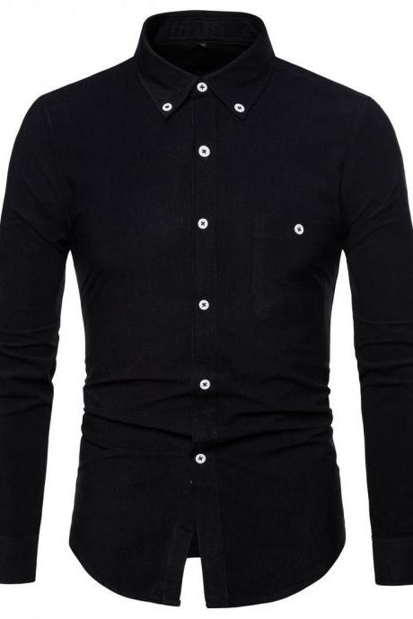 Men Shirt Spring Autumn Corduroy Long Sleeve Single Breasted Casual Slim Fit Plus Size Shirt black