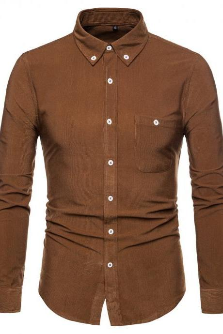 Men Shirt Spring Autumn Corduroy Long Sleeve Single Breasted Casual Slim Fit Plus Size Shirt brown