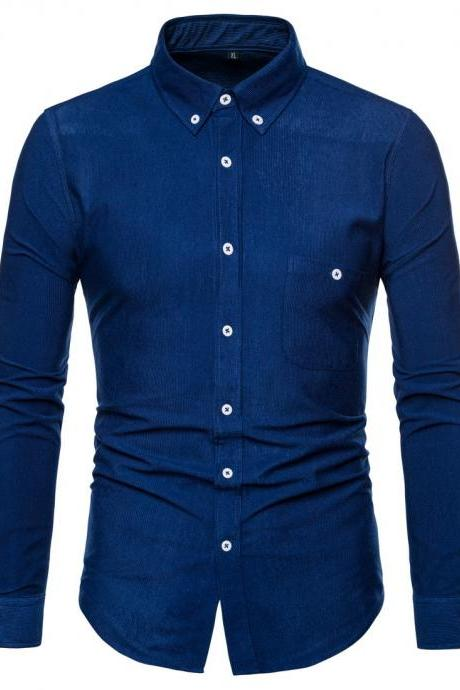 Men Shirt Spring Autumn Corduroy Long Sleeve Single Breasted Casual Slim Fit Plus Size Shirt jeans blue
