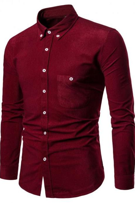Men Shirt Spring Autumn Corduroy Long Sleeve Single Breasted Casual Slim Fit Plus Size Shirt wine red