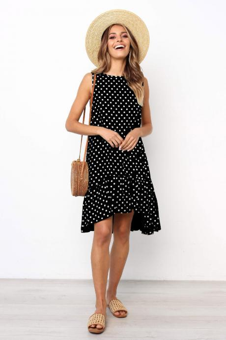 Women Polka Dot Dress Boho Summer Beach Casual Loose Sleeveless Asymmetrical Sundress black
