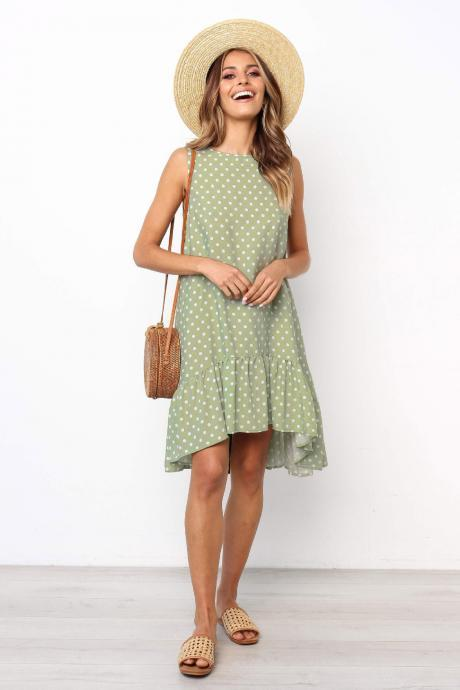 Women Polka Dot Dress Boho Summer Beach Casual Loose Sleeveless Asymmetrical Sundress green